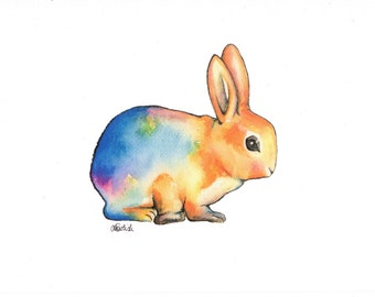 Watercolour rabbit / art print / A5 size