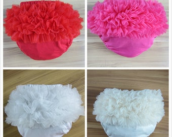 Newborn Baby Bloomers Girl Ruffle Diaper Nappy Cover Pants Cotton Chiffon Petti Photo Prop Free Postage