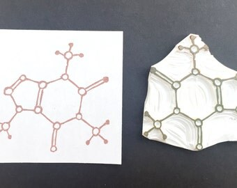 Caffeine molecule stamp, hand carved caffeine molecule stamp, handmade science rubber stamp, hand carved stamp, science stamp