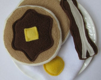 Fleece Play Food Breakfast Set - Made to Order - Pretend Food - Pretend Kitchen - Pancakes, Bacon and Egg - Birthday Gift