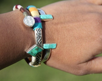 Turquoise bar cuff - sterling silver and turquoise