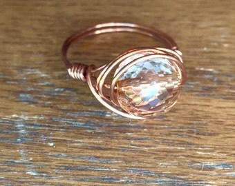 Peach Bead Ring, Brass Tone Wire Wrap Ring