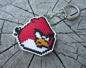 Cross stitch keychain - red bird from Angry birds