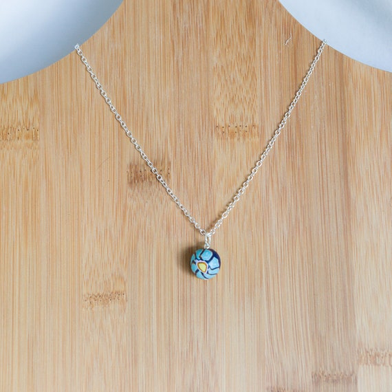 Polymer pendant, pendant necklace, pendant, necklace, jewellery, gift for her, pretty, one of a kind, handmade, daisy, flower, blue, hippie