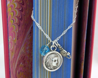 Alice's Adventures in Wonderland Recycled Book Page Charm Necklace