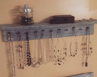 SALE- Ready to ship!!! Necklace holder, jewelry storage. Bathroom shelf storage. Jewelry organizer, holder