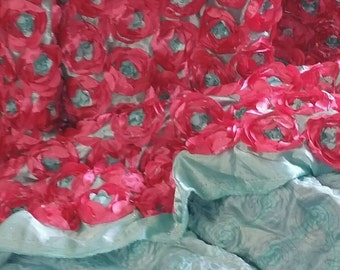 Ribbon Roses Special Occasion Fabric Satin Back Floral Fancy  By the Yard