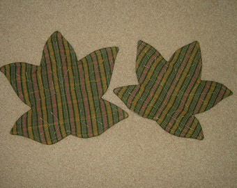 Candle Mats~Leaf Shaped~Green Multi Colored~Set Of 2!  On Clearance!