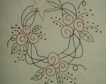 Primitive Stitchery~Rose Wreath....