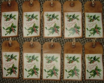 Primitive Hang Tags~Holly~Set Of 10!