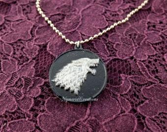 Game of Thrones House Stark Direwolf Handmade Necklace