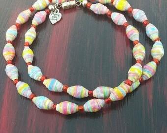 SALE- GLOW in the DARK Rainbow Paper Bead Necklace