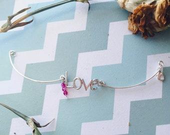 Love Charm Wire Bracelet