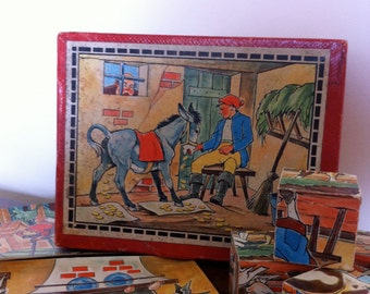 Vintage Wooden Block Puzzle from 1940's/50's