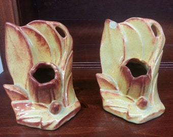Vintage Nelson McCoy Book Ends, Bookends, Candle Holder