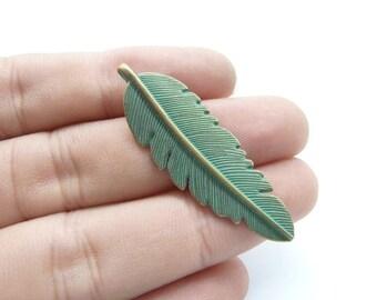 15pcs Leaf  charms- Antique Bronze Rustic Patina Leaf Charm Leaves Charm Pendants 14x44mm C8151