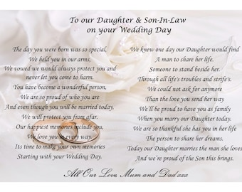 To my Daughter and Son-in-law on your wedding day