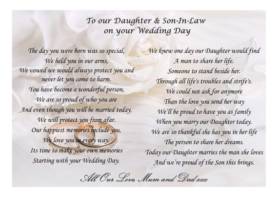 Wedding Gifts For My Son And Daughter In Law : To my Daughter and Son-in-law on your wedding by Donnaskeepsakes