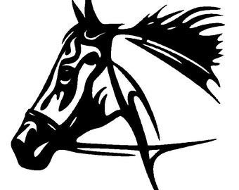 Tribal horse head DXF file