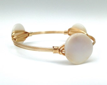 Gold Bangle with White Pearl Shell Bead