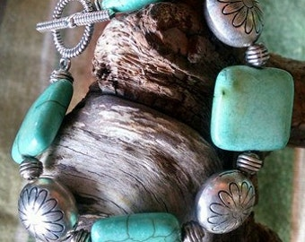 Southwestern square magnesite bracelet with flower beads