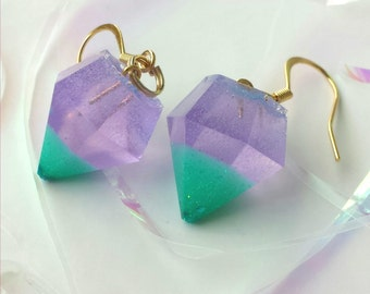 Under The Sea Resin Diamond Earrings