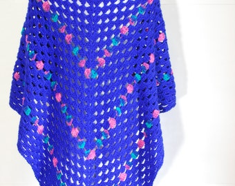 Handmade crochet Blue Shawl/wrap, with a touch of pink, aqua and green