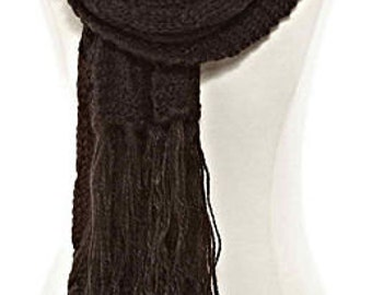 Black Cable-Knit Scarf
