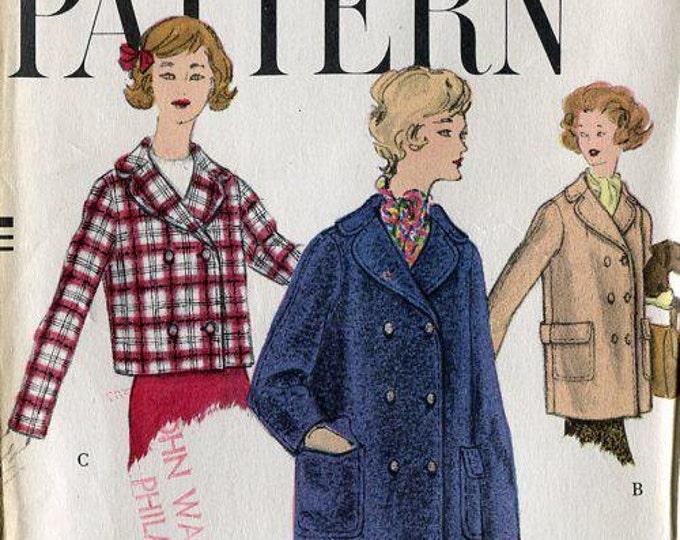 FREE US SHIP Vogue 1617 Retro 1950's Uncut Box Crop Coat Jacket Back Belt Detail 16 Teen Bust 36 Sewing Pattern