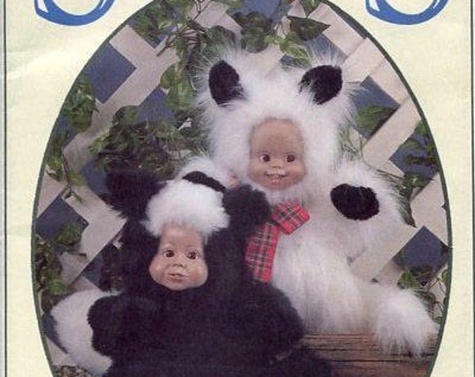 FREE US SHIP Syndee's Craft Ltd 1991 Doll's Little Dew Skunk, Sparkles Kitten New Old Store Stock Sewing Pattern
