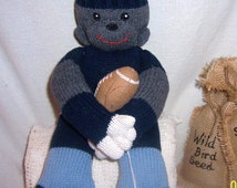 Easter, Sock monkey, sweater monkey, football playing monkey, Handmade, football toy, sports monkey