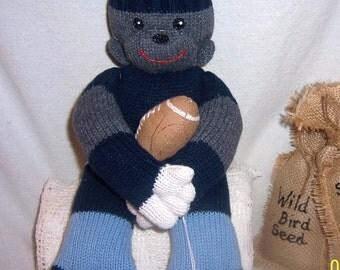 Easter, Sock monkey, sweater monkey, football playing monkey, Handmade, football toy, sports monkey