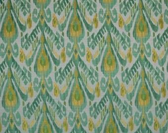 Ikat Woven Fabric by the Yard - Richloom Mizu Jade - Upholstery - Home Decor - Headboard - Pillows - Cornice - Crafts