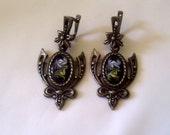 Vintage Earrings  Enamel Metal