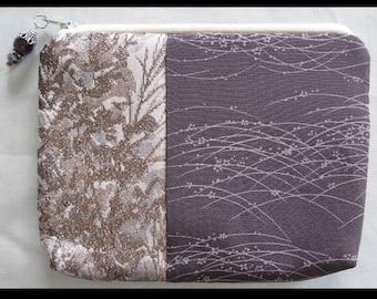 Prairie - Kimono Pouch Purse Bag Zipper Vintage Japanese Fabric