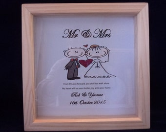 Mr & Mrs - Bride and Groom wedding day gift,  Personalised gift,  wedding gifts, wedding day personalised gifts, Stick figures