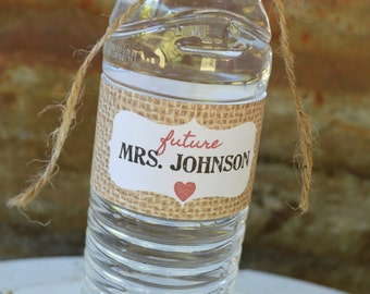 Water Bottle Labels, Bridal Shower Favor, Bachelorette Party, Printable Water Bottle Label, Rustic Bridal Shower