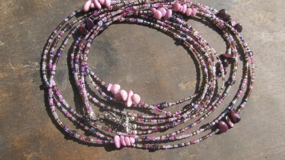 Custom made set of 3 strands waist beads, purple color, crystals, natural stones, Fair Trade