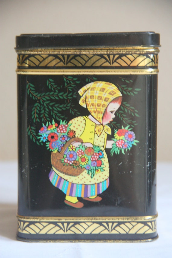 Sweet Colorful Decorated Vintage Tin Can, Storage Tin