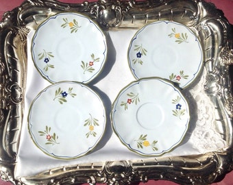 Vintage Tea Cup Saucers, China for Crafts, Wall Decor, 4 Italian 1950's Pottery Plates, Hand Painted Plates
