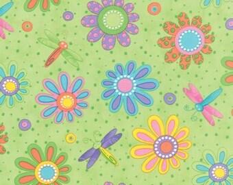 Hi De Ho Light Green Fabric - Flowers Dragonflies - by the Half Yard