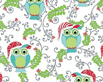 Frosty Forest Owls Hats Trees Holiday Winter Christmas Branches Swirls by the Half Yard