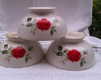 Vintage Café au Lait Bowls, Set of Three French Breakfast Bowls,  Fruit/Cereal Bowls, Rose Design