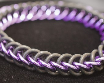 Purple & Black Stretch Chainmaille Bracelet - Half Persian 3-1