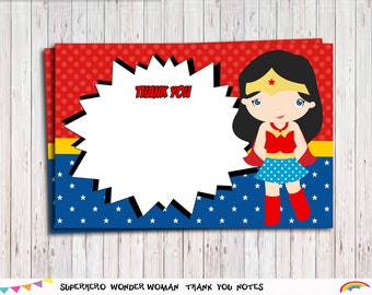 Superhero Girl Thank You Card Blank, Thank You Notes,Blank Card Printable Instant Download,Thank you tags,Party Supplies, Superhero party
