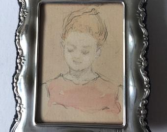 Silver-framed delightful original watercolour sketch by Nellie Benson