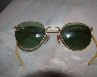 Brass Wire Rim Vintage Men's Sunglasses
