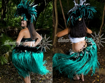 Tahitian dance costume reversible 2 in 1 hip belt