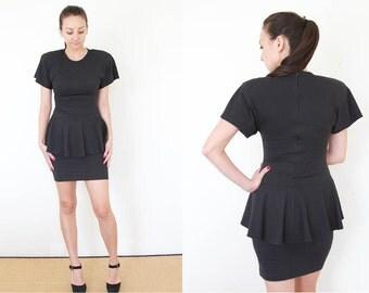 50% off sale - Vintage 80s Peplum Black Jersey Mini Dress Small S Medium M