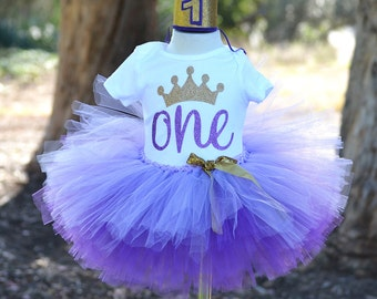 First Birthday Outfit, baby girl, Purple tutu, Princess outfit, smash cake.